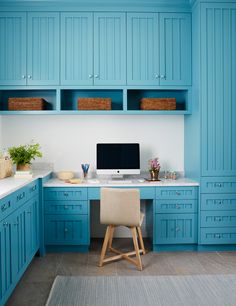Andrew Howard Interior Design | House of Turquoise Blue Laundry Rooms, Laundry Room Design, Kitchen Design, Workspace Design, Home Office Design, Home Office Decor, House Of Turquoise, Workspace Inspiration, Kitchen Inspiration