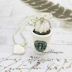 polymer clay necklace Stabucks coffee miniature by alchemian made in italy
