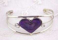 Alpaca Mexican Silver Cuff Bracelet Purple Abalone Heart Fashion Jewelry NEW #Unbranded #Bangle