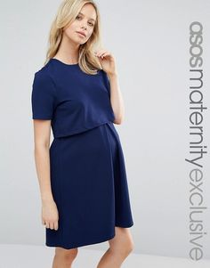 ASOS Maternity | ASOS Maternity NURSING Textured Skater Dress With Double Layer