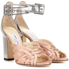 Jimmy Choo Tristen 100 Satin and Leather Sandals (€545) ❤ liked on Polyvore featuring shoes, sandals, jimmy choo, metallic, genuine leather shoes, jimmy choo sandals, metallic leather sandals, leather sandals and pink shoes