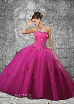 Ball Gown Strapless Neckline Floor length Sleeveless Satin & Tulle Quinceanera Dress with Embroidery (SAS484)