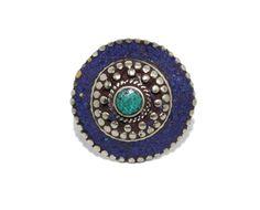 Round lapis turquoise bohemian ring