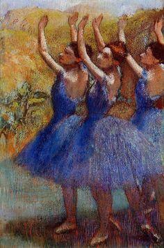 Edgar Degas - Trois danseuses en Jupes pourpre