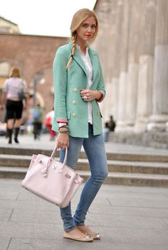 Mint Blazer and baby pink Hermés bag