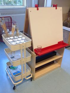 Paint Area http://wondersinkindergarten.blogspot.ca/2014/08/a-new-classroom-of-possibilities.html
