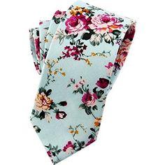 Mantieqingway Men's Cotton Printed Floral Neck Tie