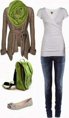 Green scarf, flat silver color shoe and green bag inspiration   Fashion and styles