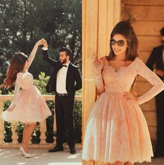 2015 Pink Arabic Short Prom Dresses Lace Long Sleeves Plus Size Sexy Formal Celebrity Pageant Evening Homecoming Party Gowns 2016 Online with $134.54/Piece on Marrysa's Store | DHgate.com