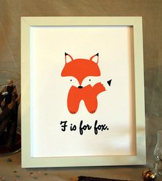 F is for Fox woodland animal nursery portrait by feb10design, $8.0  this is a MUST for us