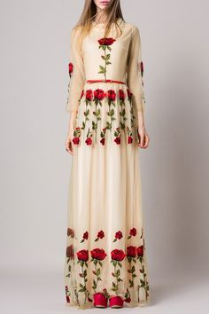 Zippered Flower Embroidery Dress