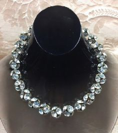 Showstopper of a necklace of big bauble beads, each made of 6, large, crystal clear rhinestones. Simply gorgeous! SOLD