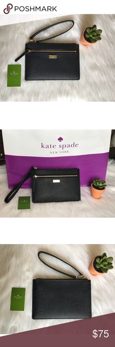 """NWT Kate Spade Wristlet Pictured above is a NWT Kate Spade New York Saffiano Leather Wristlet handbag with gold toned hardware. It has a top zip closure as well as 1 front zip pocket. Wristlet strap is detachable. Interior features custom Kate Spade fabric with 4 card slots. Dimensions are as following: 7.5"""" L x 5"""" H x 0.5"""" W  No trades.  Offers welcomed using the offer button.  Will not discuss prices in the comments  Any other questions please comment below 😊 kate spade Bags Clutches…"""