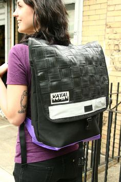 Long Woven Recycled Bike Tube Backpack by vayabags on Etsy