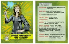 Library Trading Cards at Penn State. Pictured: Superhero Librarian Dawn Amsberry - one of these days maybe I'll have my own :) Media Specialist, School Bulletin Boards, Library Displays, The Magicians, Trading Cards, Librarians, Books To Read, Humor, Reading