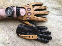 Autofahrer Herren Lederhandschuhe Tan Dunkelbraun Autohandschuhe