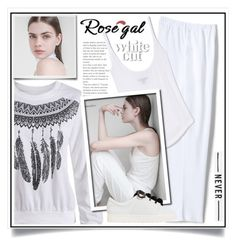 """Rosegal-T shirts"" by ewa-naukowicz-wojcik ❤ liked on Polyvore featuring Lands' End and MANGO"