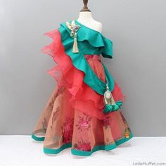 Pre Order: One Shoulder Green Choli And Lehenga With Layered Cross Dupatta Indian Dresses For Kids, Kids Indian Wear, Kids Ethnic Wear, Little Girl Dresses, Baby Dresses, Girls Dresses, Kids Dress Wear, Kids Gown, Kids Wear