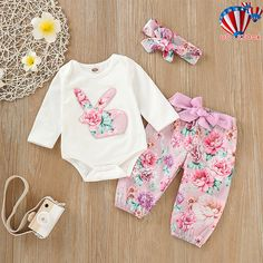 b153a41b3a90 Infant Newborn Baby Girl Romper Tops Jumpsuit Pants Headband Outfit Clothes  Set  fashion  clothing