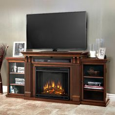 Electric Fireplace Heater TV Stand Mantel Entertainment Center Media