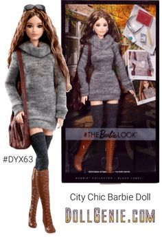 She's your most fashionable friend, always in-the-know, both endlessly inspired and inspiring. The Look City Chic Barbie doll makes fashion fun, taking cues from international runways and street style looks on every corner. She couples her enviable wardrobe with an active imagination to create personal style that begs to be photographed. The Barbie Look City Chic doll wears a sweater dress, tall socks and tall brown boots for a look that rocks city chic style. Noteworthy accessories…