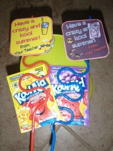 Student gifts - could attach kool-aid play dough recipe to the packets, instead of a straw