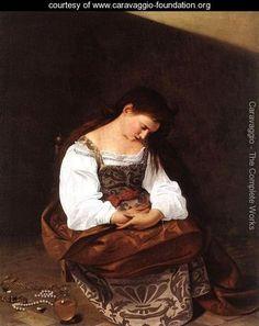 Penitent Magdalene (Repentant Madalene) Caravaggio Italian 1571-1610 c. 1594-1595 Baroque Oil on canvas Doria Pamphilj Gallery, Rome