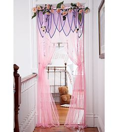 These window treatments / valances would be SOOOO easy to make!!  Could be done in any princess color!!