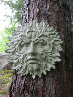 Garden Green Man Concrete Cement Face by WestWindHomeGarden Cement Art, Cement Crafts, Concrete Cement, Garden Statues, Garden Sculptures, Sculpture Ideas, Wood Sculpture, Night Garden, Concrete Garden