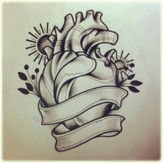 old school heart tattoo drawing - Google Search
