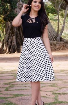 White polka dot aline skirt.