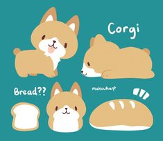Corgis look like bread kawaii doodles, kawaii art, cute animal drawings, cute drawings Cute Animal Drawings, Kawaii Drawings, Cute Drawings, Funny Animals, Cute Animals, Dibujos Cute, The Villain, Cute Cartoon, Cute Art