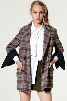 Jan Wide Sleeves Check Jacket Discover the latest fashion trends online at storets.com #oversized jacket #School Pea Coat #oversized jacket