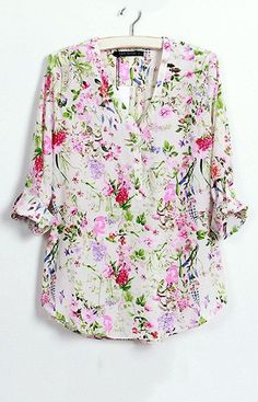 Specifications: Decoration:Button Clothing Length:Regular Pattern Type:Floral Sleeve Style:Regular Fabric Type:Chiffon Material:Polyester Collar:V-Neck Sleeve Length:Full Size Shoulder Width Sleeve Le