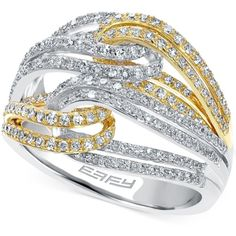 Diamond Two-Tone Ring in 14k Gold (3/4 ct. t.w.) ($3,600) ❤ liked on Polyvore