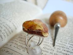 Handmade sterling silver ring with Amber... by art1jewel on Etsy