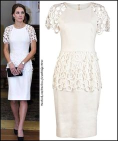 Evening wear, Lela Rose Circle Lace Trim Dress, Jimmy Choo Cosmic pumps on Kate Middleton Looks Kate Middleton, Kate Middleton Dress, Lela Rose, Dresses For Less, Casual Dresses, Lace Peplum Dress, Dress Red, Sheath Dress, White Dress