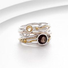 Stunning sterling silver and gold ring set with Smokey Quartz and Citrine