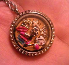 My Origami Owl Living Locket: God, biking, artist, fashionista, my cat, book worm, sewing, my red lips, love life...