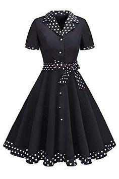 MisShow 1950er Retro Vintage Rockabilly Petticoat Kleid Cocktailkleid Knielang - Gothic-Steampunk-Rockabilly