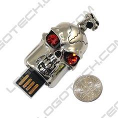 skull shaped usb flash drive, 5 tech treats for Halloween #geek #USB #customflashdrives #Logotech
