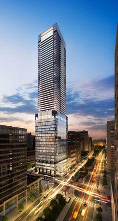The Residences at 488 University Avenue Toronto condo landmark tower. Mix Use Building, Tower Building, High Rise Building, Building Structure, Building Design, Architecture Board, Futuristic Architecture, Amazing Architecture, Toronto Architecture