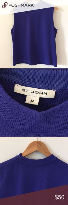 St. John crew neck sleeveless top This top is in great condition! No marks! Zips on the left shoulder. 21 1/2 inches long. 20 inches across the bust. Dry clean. Non-smoking pet free home.                                          🔹suggested user • fast shipper🔹                      🔸bundle to save 15%🔸 St. John Tops