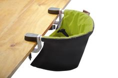 "Mountain Buggy Pod Clip-On Highchair, Lime, clamps tables 0.8-2"" thick, indoor/outdoor, 2.2 lbs, compact folds flat to fit into diaper bags, incl carrying bag, padded back support, shoulder harness system, holds up to 33 lbs, easy wipe-up, easy to set up, secure, no gap, lightweight, but not for use on glass tables, tables with loose table tops, table leaves, single pedestal tables, camping tables, or rounded tables, not a lot of back support, harder to deep clean - $59.99"