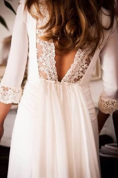Open Back Chiffon And Lace White Dress