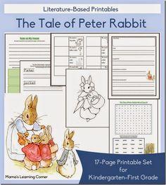 FREE Tale of Peter Rabbit Worksheets for Kindergarten and 1st grade homeschoolers.