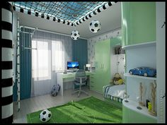 Design a child's room boy, a young football player on Behance