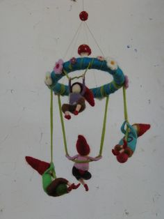 restless gnomes needle felted children mobile door Made4uByMagic