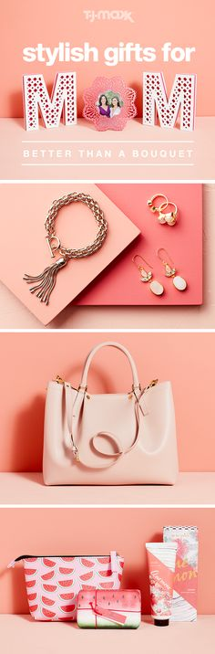 This Mother's Day, think beyond the flowers and give her a stylish gift she'll use all spring. Trendy rose gold jewelry is a thoughtful (and chic) way to let her sparkle and an oversized tote or handbag is perfect for carrying her everyday essentials. Mother's Day is all about showing your favorite lady some love—make it personal with a floral picture frame featuring a family photo or treat her to some well-deserved TLC with relaxing lotion, soaps and more. Find more Mother's Day gifts at…