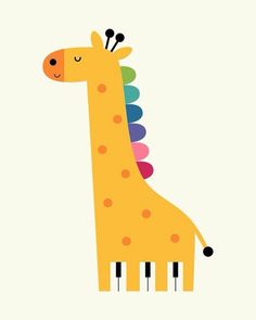 Giraffe Piano – Life is like a piano. White keys are happy moments. Black keys are sad moments. Just remember that you need both to make sweet and beautiful music : ) - Giraffe Piano - Life is like a piano. White keys are happy moments. Black keys a. Sonne Illustration, Cute Illustration, Kids Room Art, Art For Kids, Nursery Prints, Nursery Art, Animal Drawings, Cute Drawings, Piano Pictures